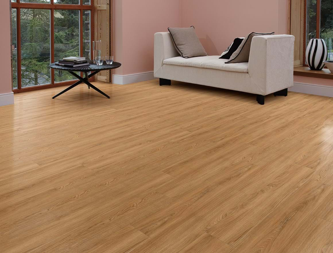 Amtico First LVT in Village Oak (SF3W3022) laid in Stripwood pattern