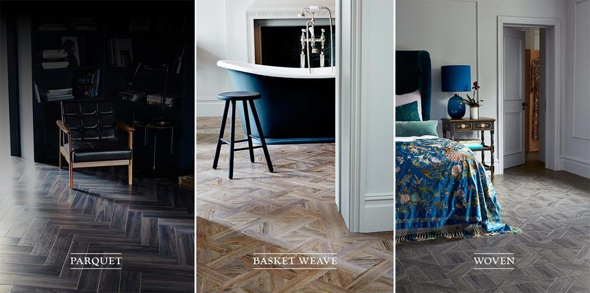 Luxury Vinyl flooring laying patterns in Parquet, Basket Weave and Woven designs