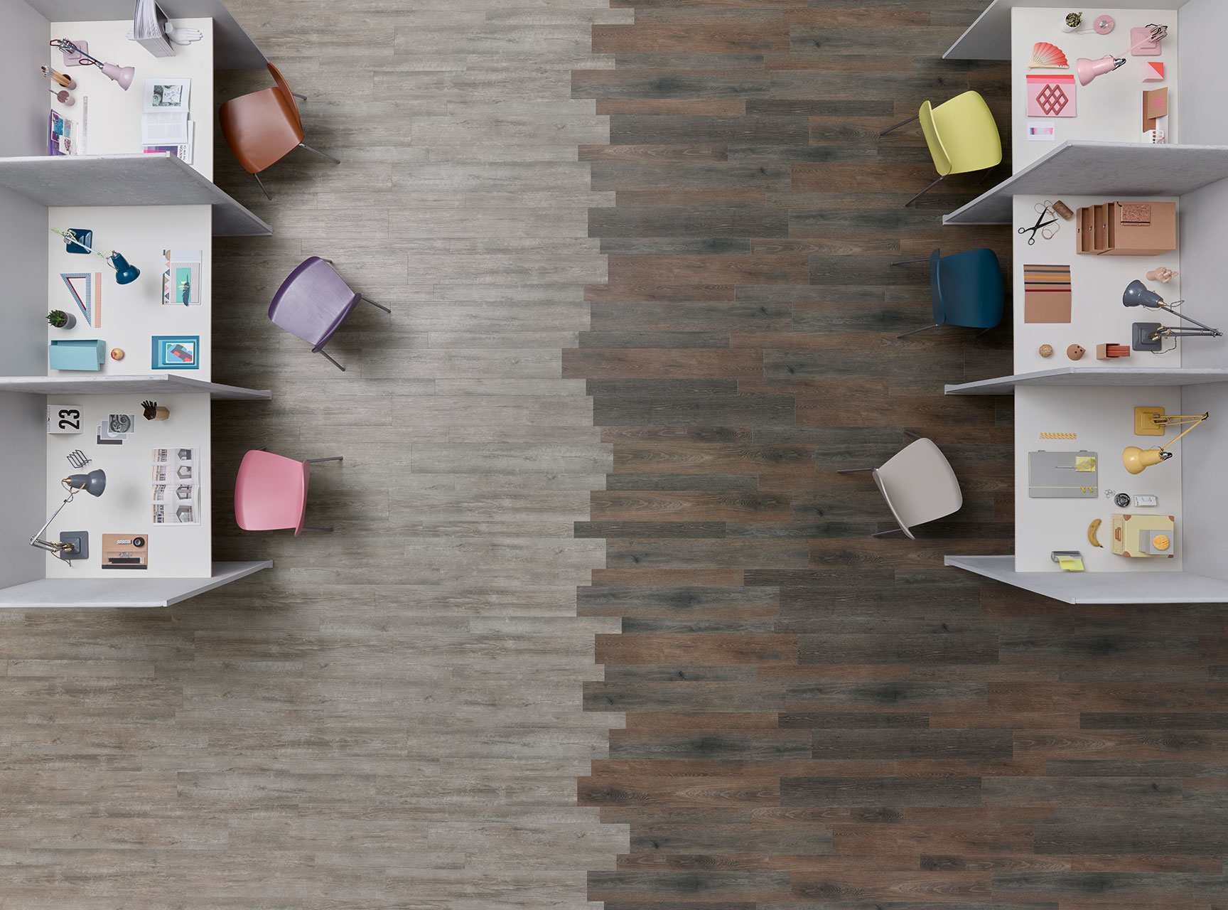 Amtico Spacia Costal Pine (SS5W2029) meets Amtico Spacia Haven Oak (SS5W3033)