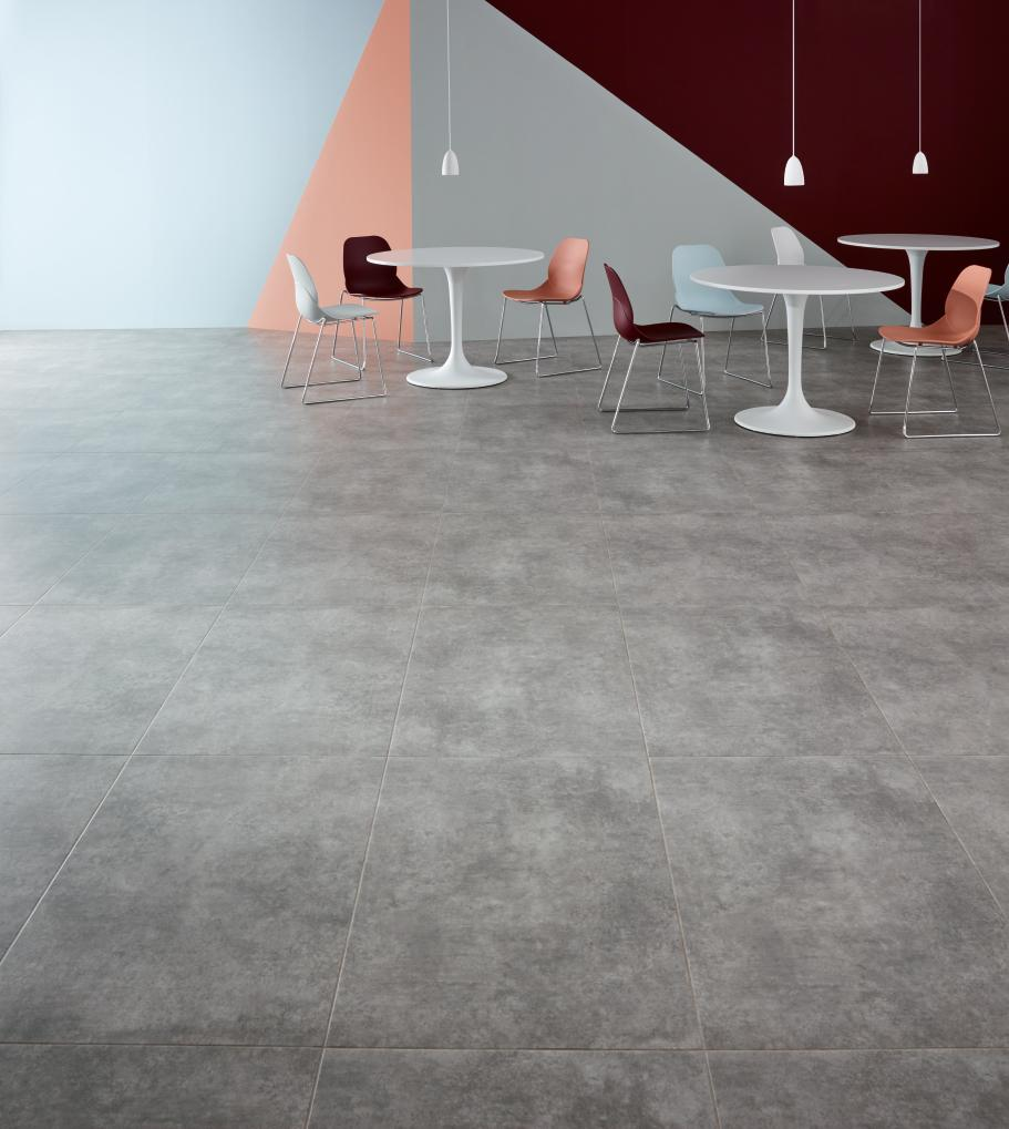 "Gallery Concrete in the new 24x36"" tile, with Concrete Pale stripping, laid Uniform Tile"