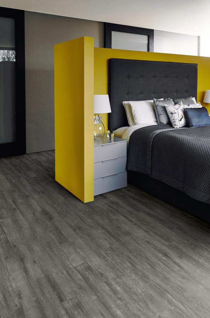 A Simple Stripwood Laying Pattern In Drift Pine Fits Bedroom Suite