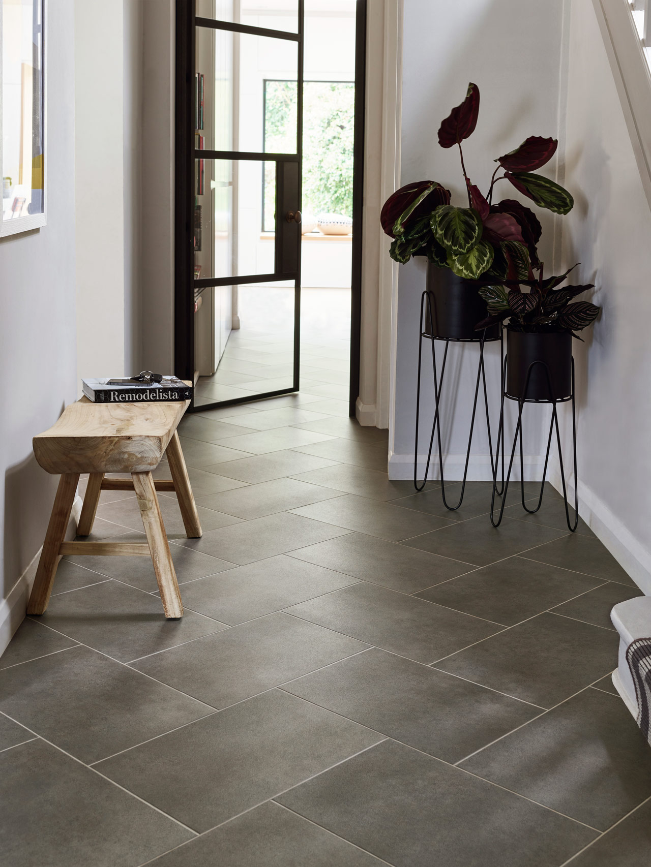 Amtico Spacia Ceramic Sable SS5S3593 with Concrete Pale stripping in Herringbone Tile laying pattern