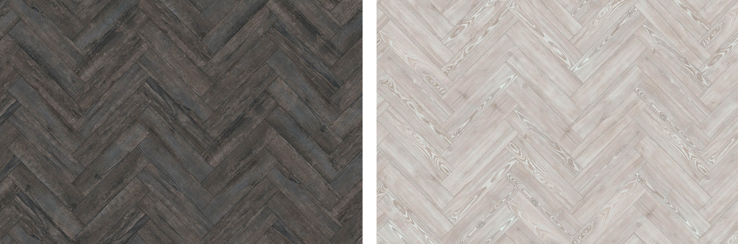 "Large Parquet 4 x 18""/ 101.6 x 457.2mm in Blackened Spa Wood (left) and White Ash (right)"