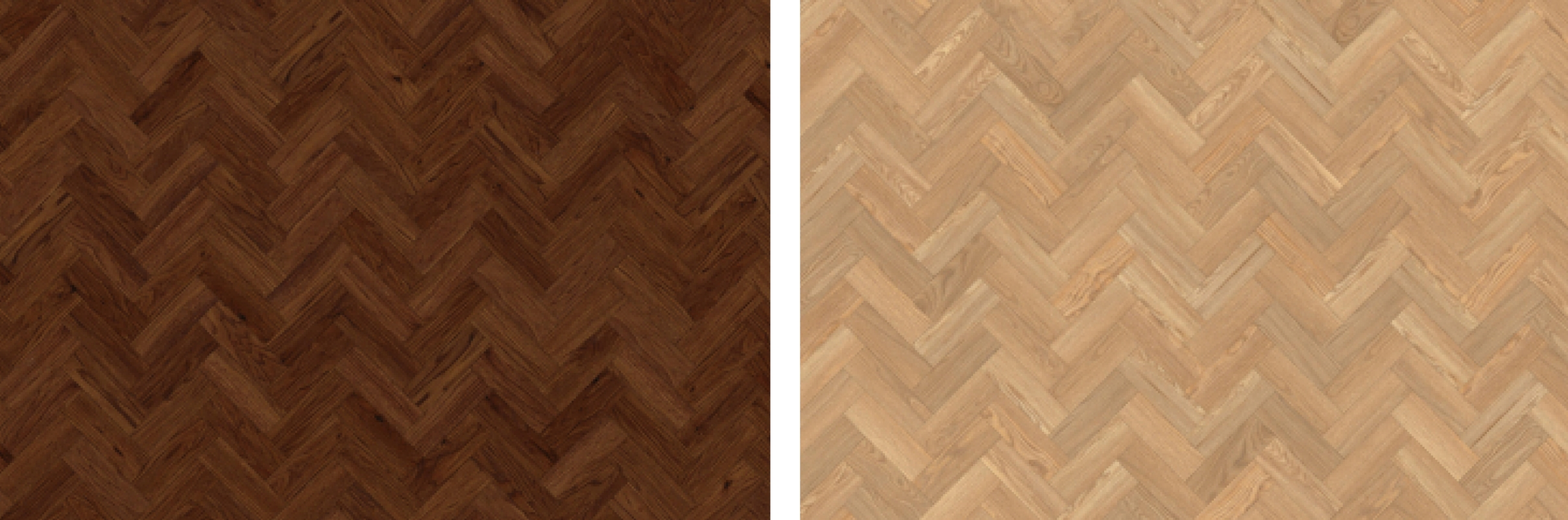 "Small Parquet 3 x 9""/ 76.2 x 228.6mm in Black Walnut (left) and Pale Ash (right)"