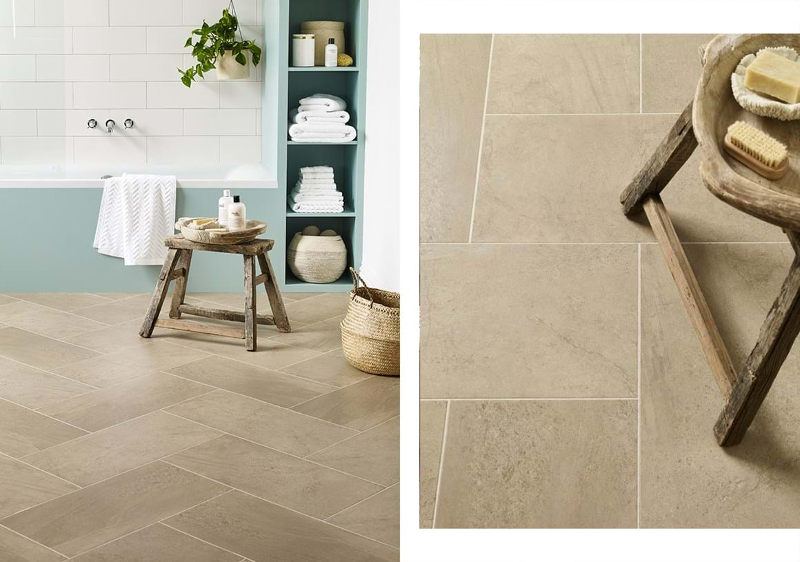 Silt In Herringbone Tile Laying Pattern With Mirabelle Creme Stripping