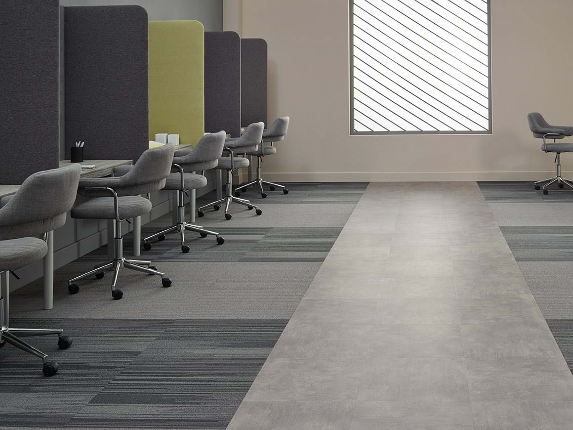 Amtico Access Metropolis Grey SX5A5607 with Amtico Carpet Variations Hematite YCVAR4T13208 and Stock S&P YCSTOCT14286 in Uniform Tile Laying Pattern