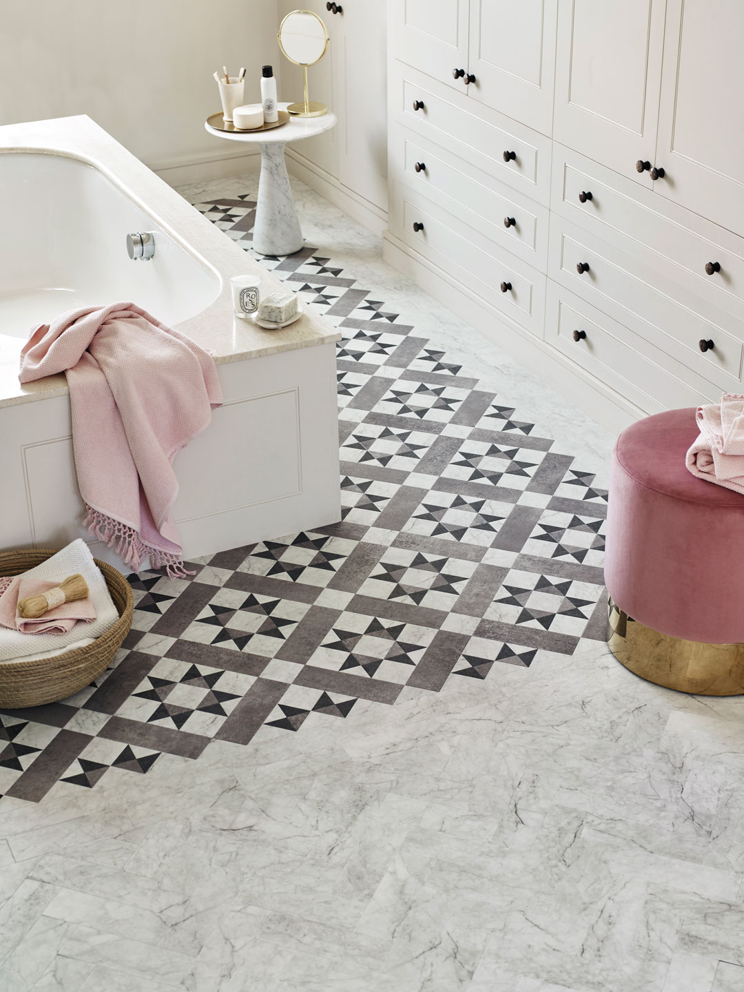 Original pattern from flooring pioneers room image corona argent is laid with marble parquet in a luxe bathroom space