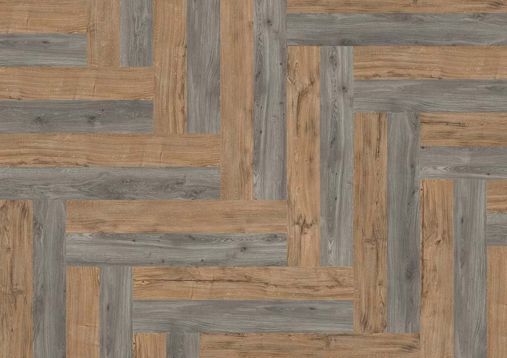 Amtico Spacia 36+, Featured Oak, SG5W2533, Weathered Oak, SG5W2524, in Wishbone Plank laying pattern