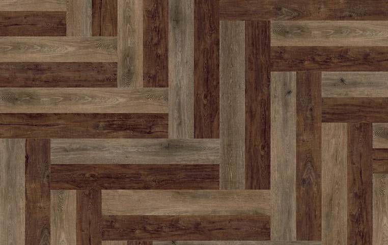 Amtico Spacia 36+, Rustic Barn Wood, SG5W2513, Nordic Oak, SG5W2550 in Wishbone Plank laying pattern