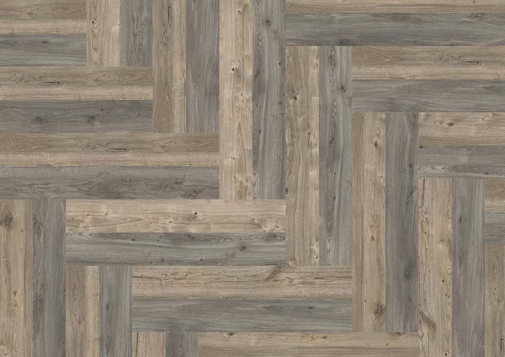 Amtico Spacia 36+, Sun Bleached Oak, SG5W2531, Weathered Oak, SG5W2524, in Wishbone Plank laying pattern