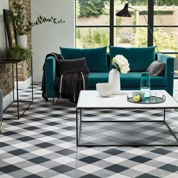 "Amtico Designers' Choice ""The Gingham"", a Key Stone Mini floor design created with Graphite Slate, Basilica Salt, Kura Caraway from the Amtico Signature Collection"
