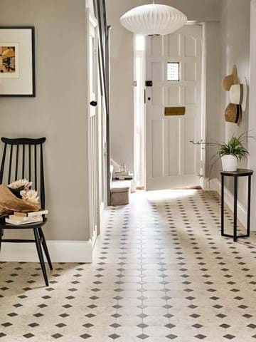 "Amtico Designers' Choice ""The Mirabelle"", a Key Stone Mini floor design created with Mirabelle Creme and Stria Basalt from the Amtico Signature Collection"