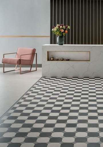 Amtico Designers' Choice Monotone floor design, with offset stripe border and Basilica Salt field tiles laid bonded stone