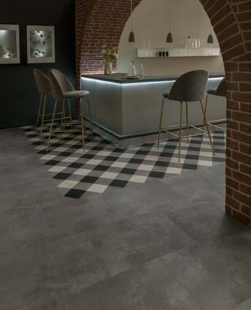 "Amtico Designers' Choice ""Gingham"" laid with Kura Caraway field tiles in Bonded Stone pattern"