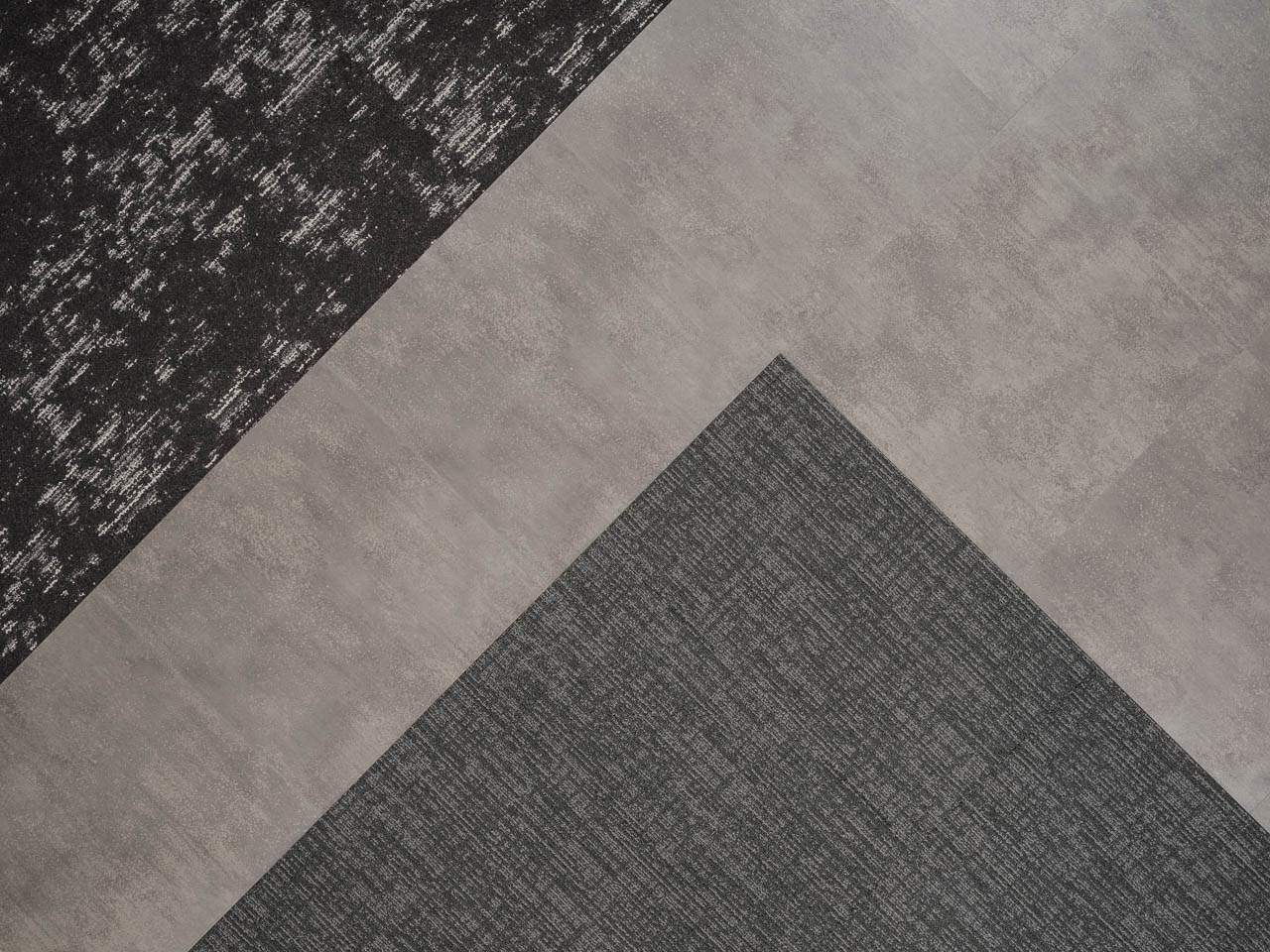 Colour Anchor Tinker and Altitude Sierra Storm carpet with Metropolis Grey from the Access Loose Lay LVT Collection