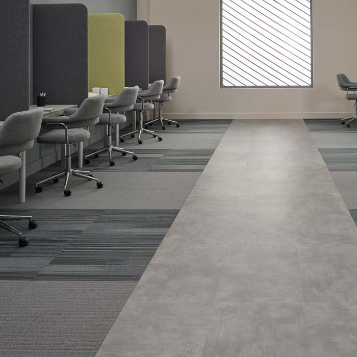 <p>Amtico Access Metropolis Grey SX5A5607, Amtico Carpet Variations Hematite YCVAR4T13208 and Stock S&amp;P YCSTOCT14286</p>
