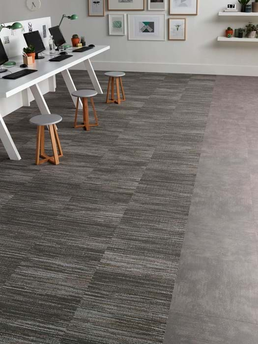 <p>Amtico Access Metropolis Grey SX5A5607, Amtico Carpet Cross Grain Groove YCCRGRT13301</p>