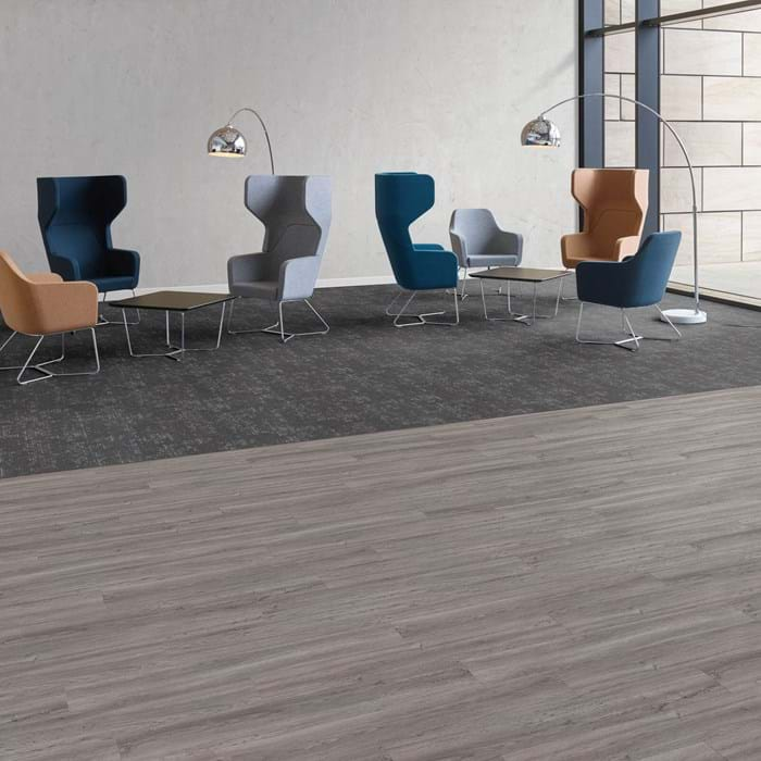<p>Amtico Access Cavalier Oak SX5W5024 and Amtico Carpet Altitude Sierra Fog YDSIERT13143</p>