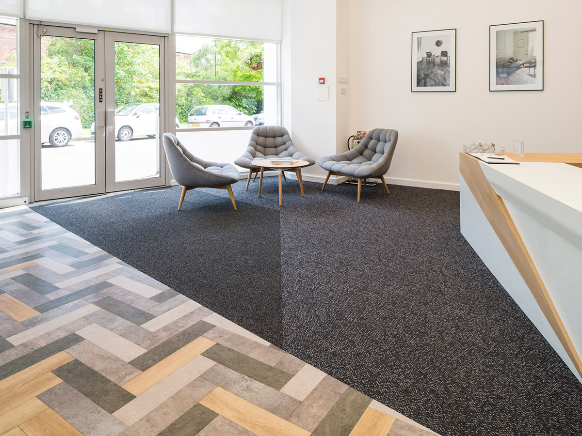 Amtico Carpet and LVT working together for a modern reception area