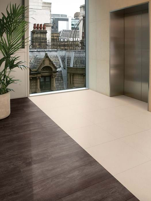 <p>Amtico Signature Script Maple Silver AR0W8120 and Amtico Signature Mica Mix Eggshell AR0SMM41</p>