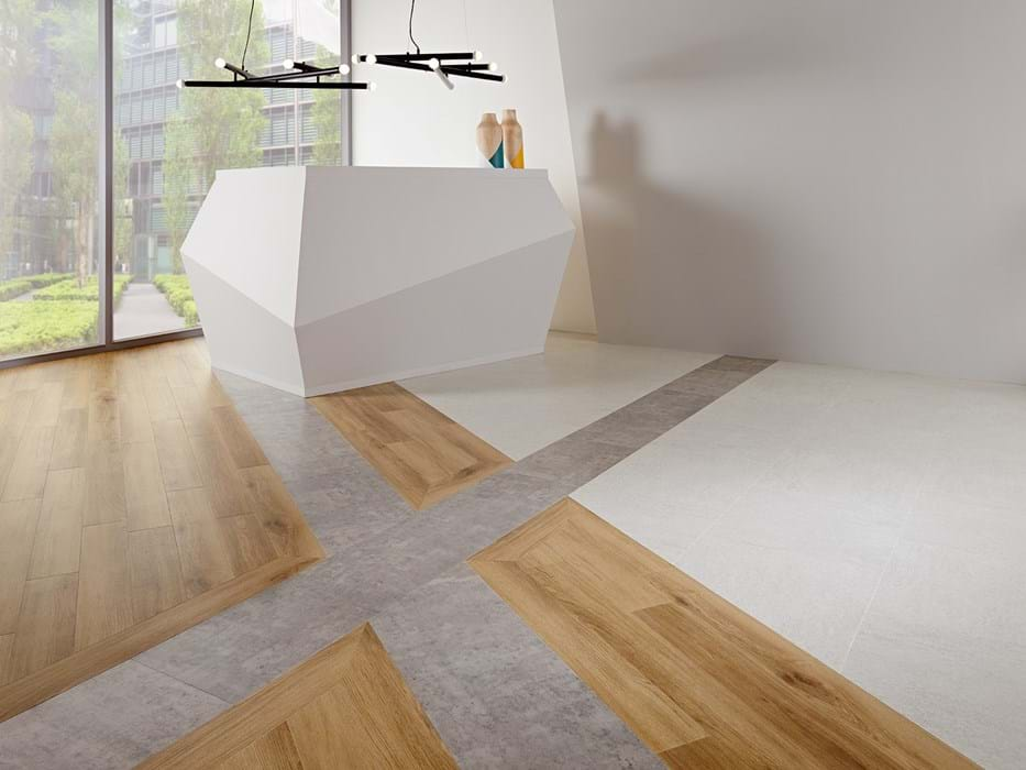 <p>Amtico Signature York Oak AR0W8160, Amtico Signature Exposed Concrete AR0SEC30 and Amtico Signature Basilica Salt AR0SBS12</p>