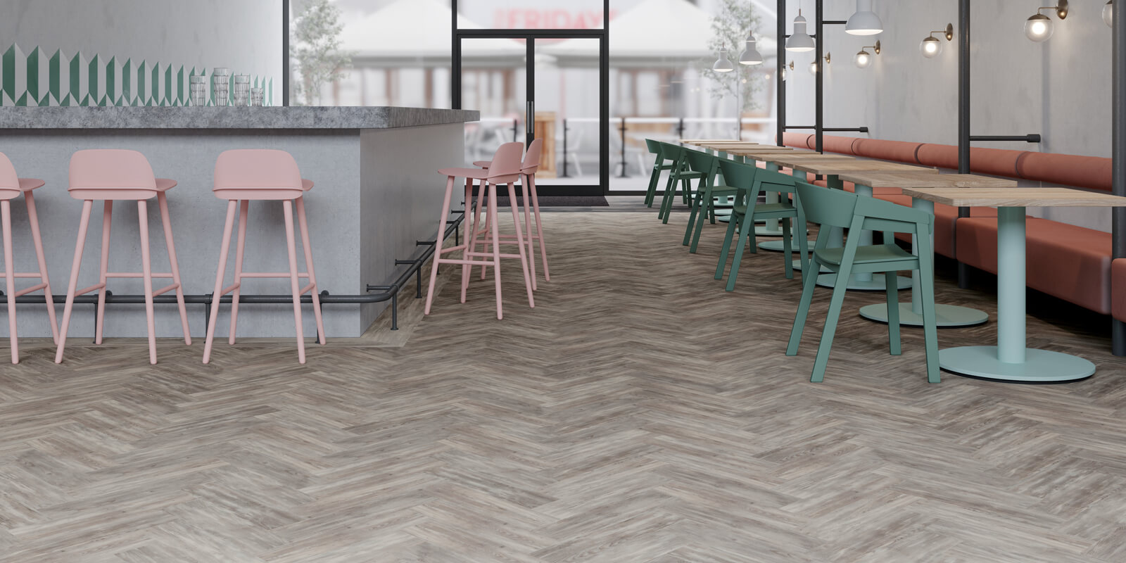 Amtico Signature Halo Pine AR0W8250 in a large parquet pattern