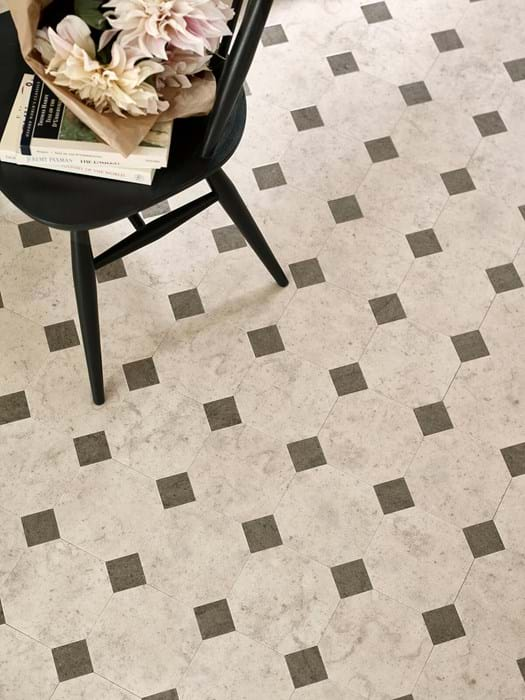 <p>Amtico Signature Stria Basalt AR0SMS43 and Amtico Signature Mirabelle Creme AR0SMB14, Amtico Designer's Choice Key Stone Mirabelle DC308</p>