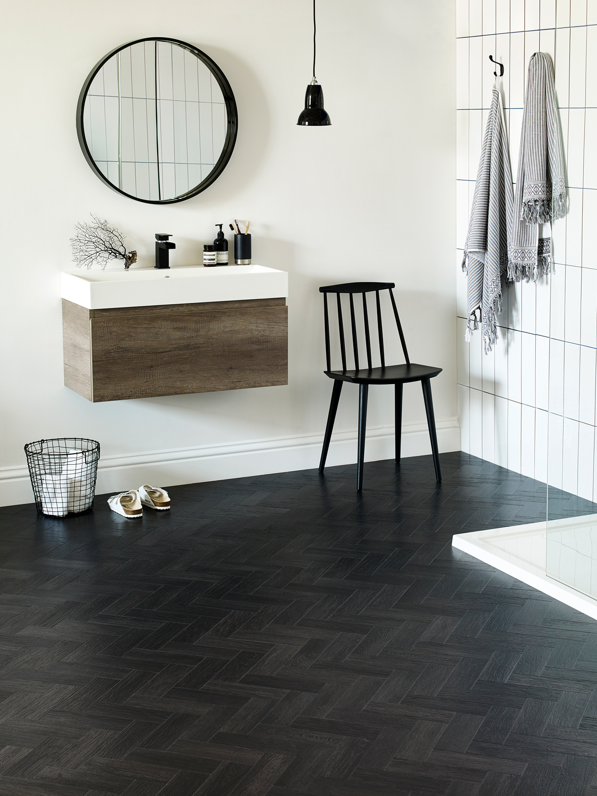 Amtico Form, Coal Grained Oak, Small Parquet laying pattern