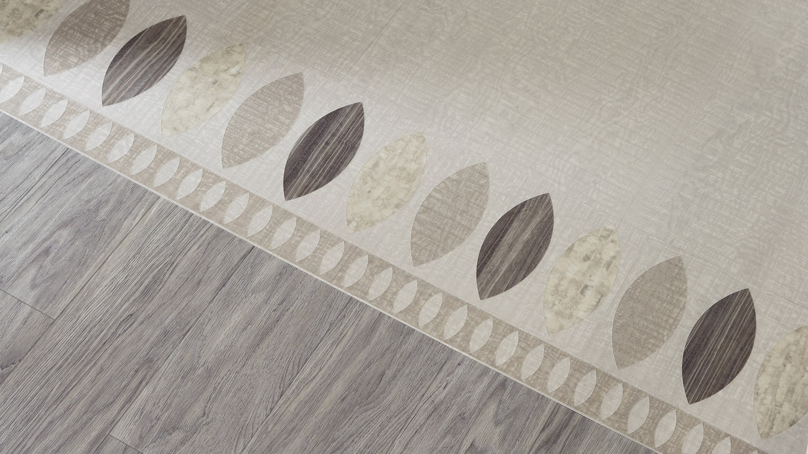 Ellipse Grand border created with Amtico Signature LVT in Cirrus Air, Alchemy Haze, Shibori Jasmine and Cirrus Mist