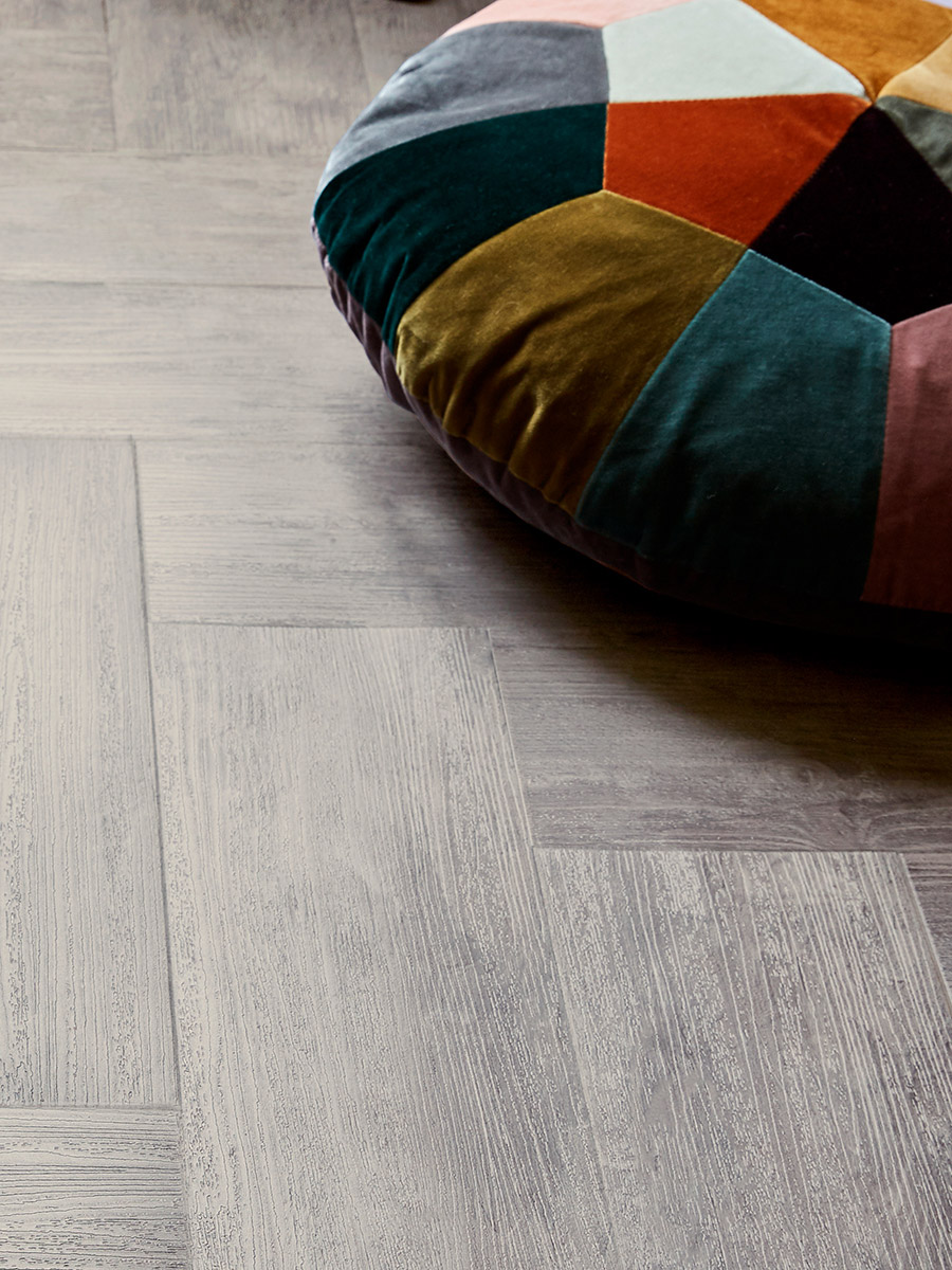 Amtico Signature, Trace Kaolin in a Parquet laying pattern