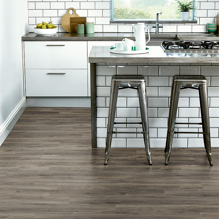 Weathered Oak in a stripwood laying pattern from the Amtico Click Smart collection