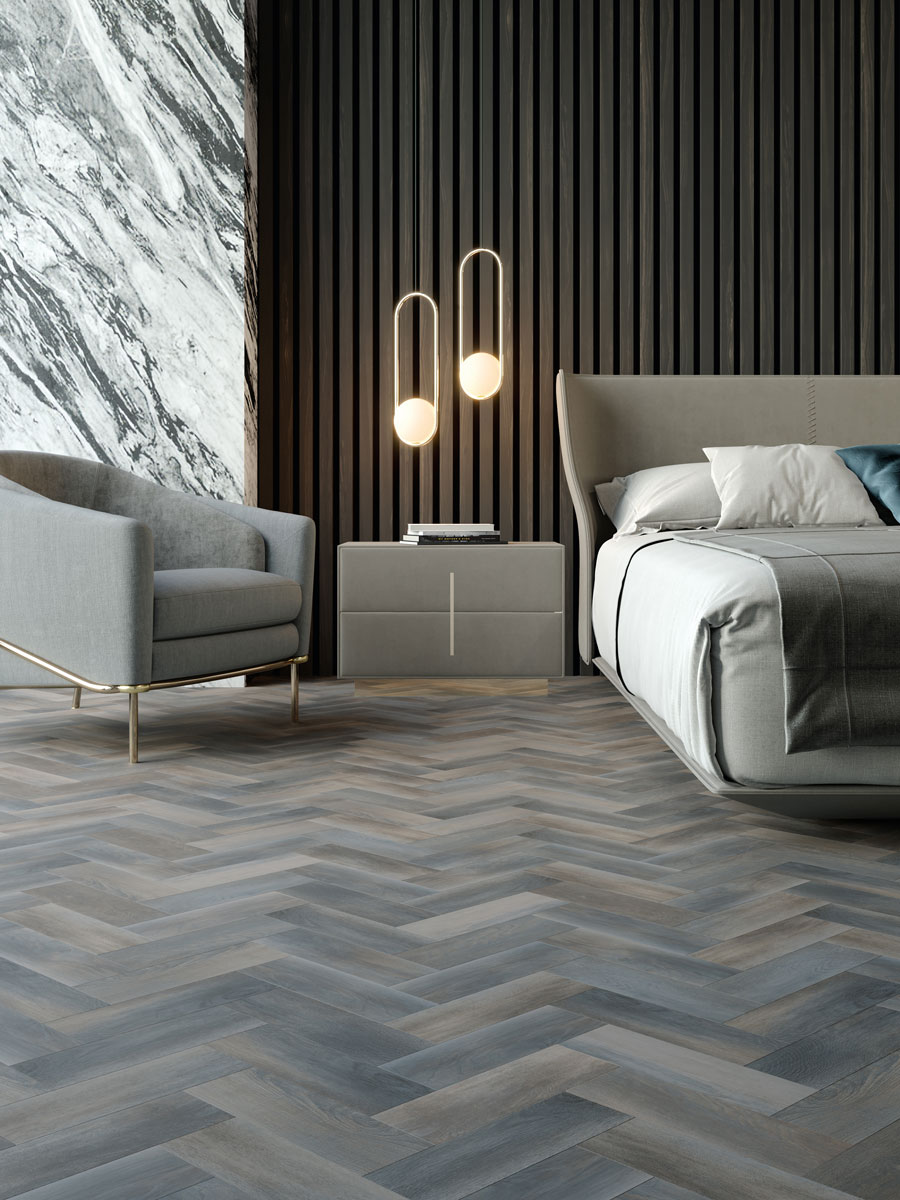 Amtico Signature, Pacific Grain, laid in parquet pattern.
