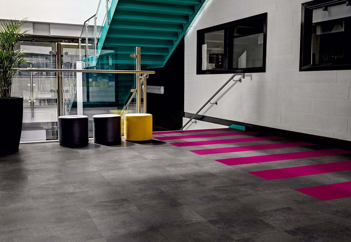 Amtico Signature LVT in Kura Opium (AR0SKU49) and Marrakech (AR0ACF51) in a bespoke laying pattern