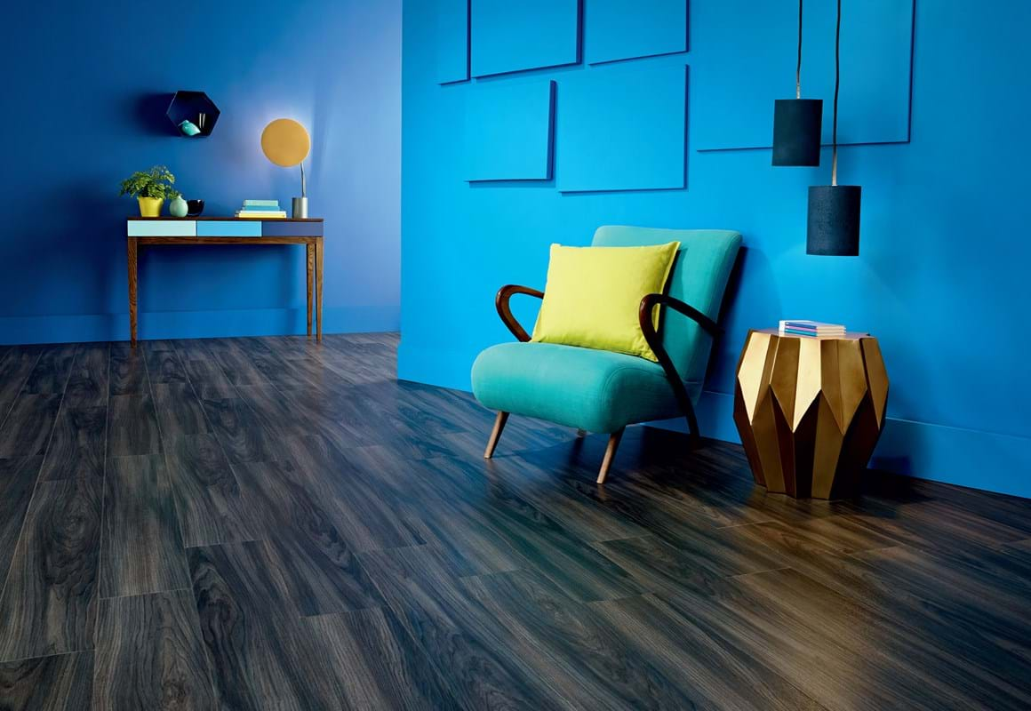 Amtico Signature LVT in Ink Wash Wood (AR0W8230) in a Stripwood laying pattern