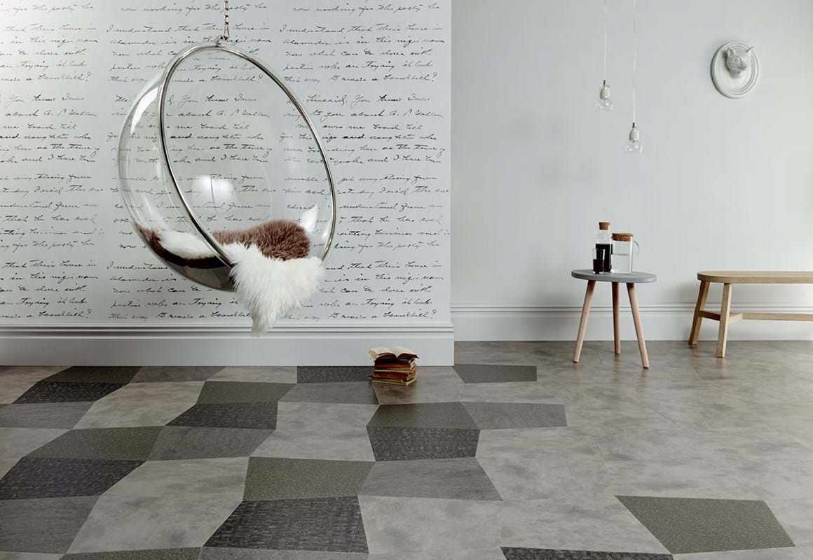 Amtico Signature LVT in Alchemy Storm (AR0AAL20), Fragment Astro (AR0SFR33), Patina Vapour (AR0APT31) and Stria Rock (AR0SMS33) in an Oblique Square Laying Pattern