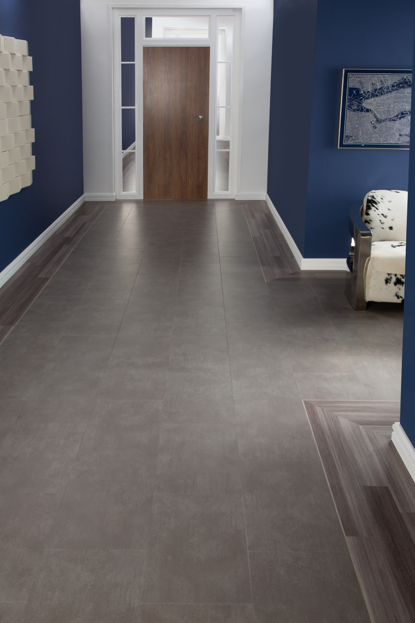 Amtico Spacia LVT in Metropolis Smoke (SS5A2627) with Mirus Hemp (SS5A6130)