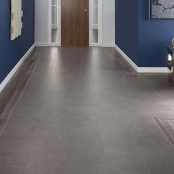 Amtico Spacia LVT in Mirus Hemp (SS5A6130) and Metropolis Smoke (SS5A2627) with Concrete Pale Stripping